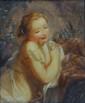 École francaise du XIXe siècle.  Baigneuses.  Huile sur toile.  H.  22 cm - L.  17 cm