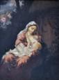 École FRANÇAISE du XIXe siècle.  entourage de Narcisse DIAZ.  Vierge à l'Enfant.  Huile sur toile.  H.  38 cm - L.  29,5 cm