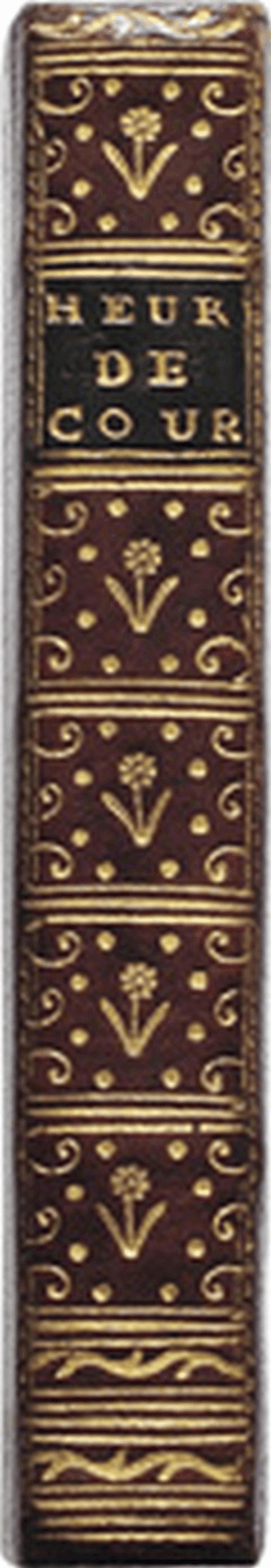LA PUCELLE d'Orléans, poëme, divisé en vingt chants, avec des notes... à Conculix, 1765 ; in-18, plein maroquin rouge, encadrements de filets dorés, fleurons aux angles, dos lisse orné de caissons et fleurons dorés, pièce de titre en mar. vert,