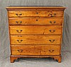 Chippendale Chest of Drawers, Cherry, Five Graduated Drawers, (Some Chipping and Aging, Missing Part of the Back) 42 1/4