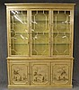 Chinoisere Breakfront China Cabinet, Painted Decorations, Molded Cornice, Three Glazed Doors over Three Doors, (Very Good Condition)...