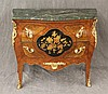 Louis XV, Commode, Kingwood, Marble Top, Veneered Drawers and Sides with Center Floral Inlay, Ormoulu Mounts on Splayed Feet, 32 1/2...