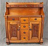 Wall Cupboard, Pine, Step Back with Five Drawers, Two Drawers over Two Doors and Four Center Drawers, 63