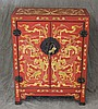 Chinoiserie Side Cabinet, Painted Red with Dragon Designs, 30