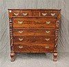 American Empire Chest of Drawers, Mahogany Veneer, Three Small Drawers Over Four Graduated, Carved Column Front on Paw Feet, some Ch...