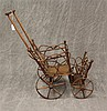 Antique Doll Stroller, Stick and Ball Construction with Bent Wood Detail, Single Spoke Wooden Wheels, 23