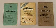 Grouping of 3 Imperial German identification booklets including two Militar-Passes.  Booklets sold with one Bavarian Pass Karte.