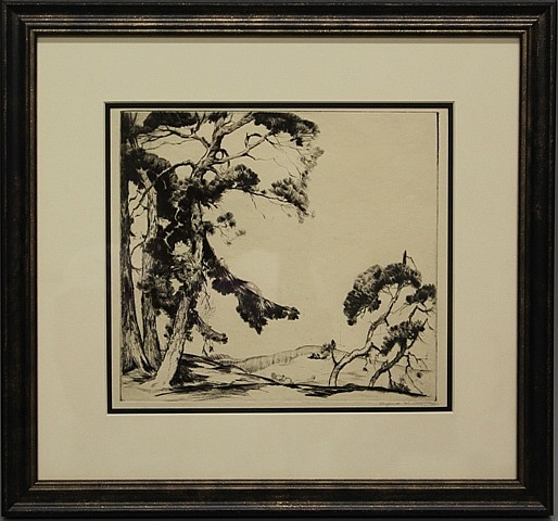 Framed Etching - Trees with Cabin by Alfred Hutty