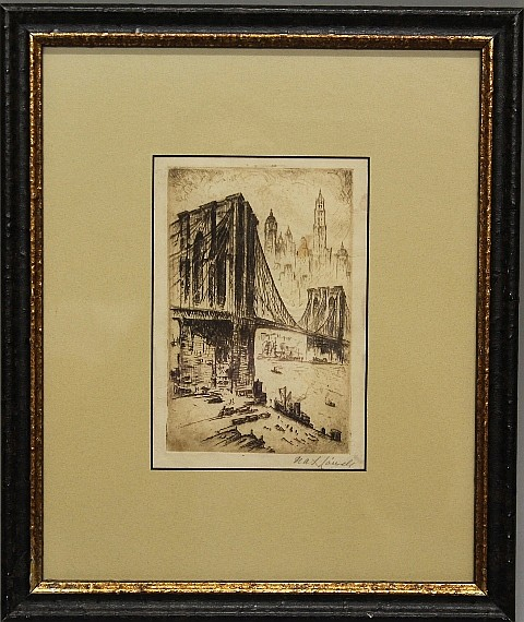 Framed Etching - Sepia Toned Brooklyn Bridge, NYC by Nat Lowell