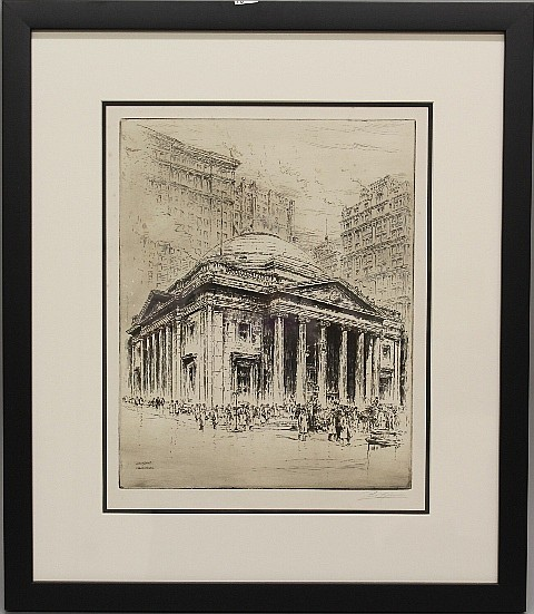 Framed Etching - Philadelphia Library by Paul Gaissler
