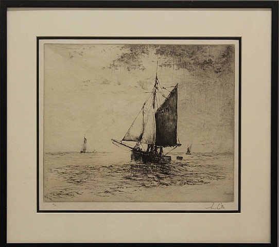 Framed Etching - Sailboat in Rain Storm, Signed