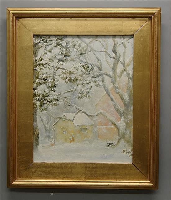 Christine McHugh, Pennsylvania Monday's Snow Oil on canvas.