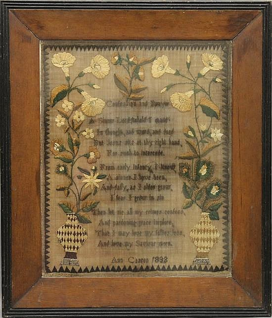 Sampler by Ann Casson, 1833