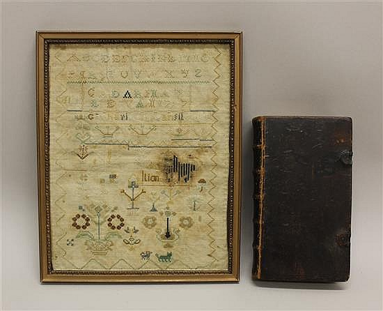 Sampler by Catharine Levan with her Samuel Saur Bible, Chesnut Hill, PA