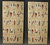 Pair of Three Panel  Handpainted Screens by Maitland Smith, Phillipines 2743-011, 80