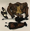 LOT OF ANTIQUE LADIES' CLOTHING/ACCESSORIES - BODICE, SHOES, PURSE, PARASOL.  Bodice - 1800's dark brown silk bodice with woven patt.