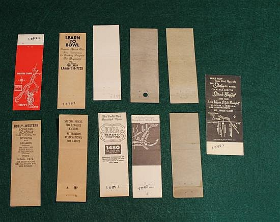 Lot of 11 pc. Bowling / Billiard Advertising Matchbooks
