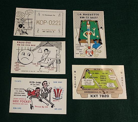 Lot of 5 pc.	Ham Radio return cards with billiard theme