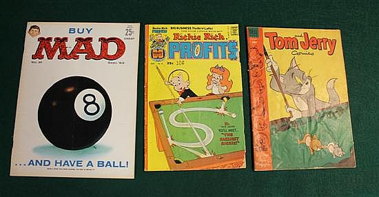 Lot of 3 pc. 2 comic books (Richie Rich and Tom and Jerry) and 1 Mad Magazine with 8 ball cover