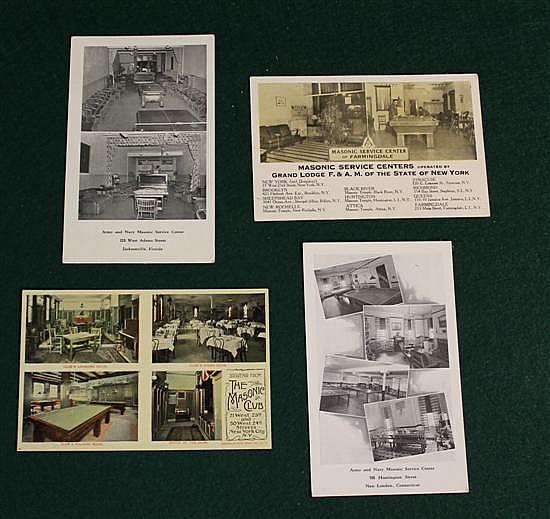 Lot of 4 pc. Masonic Lodge Pool Rooms.