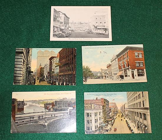 Lot of 5 pc. Pa. street scenes, pool halls, Phoenixville, Pa.