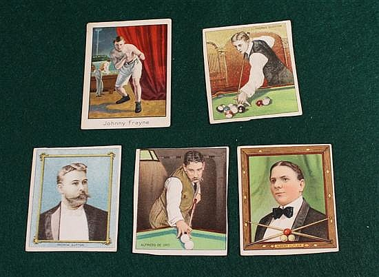 Lot of 5 pieces includes four Proofs (?) or cut from sheet of Mecca Cigarette cards and one Mecca card of boxer Johnny Frayne with a...