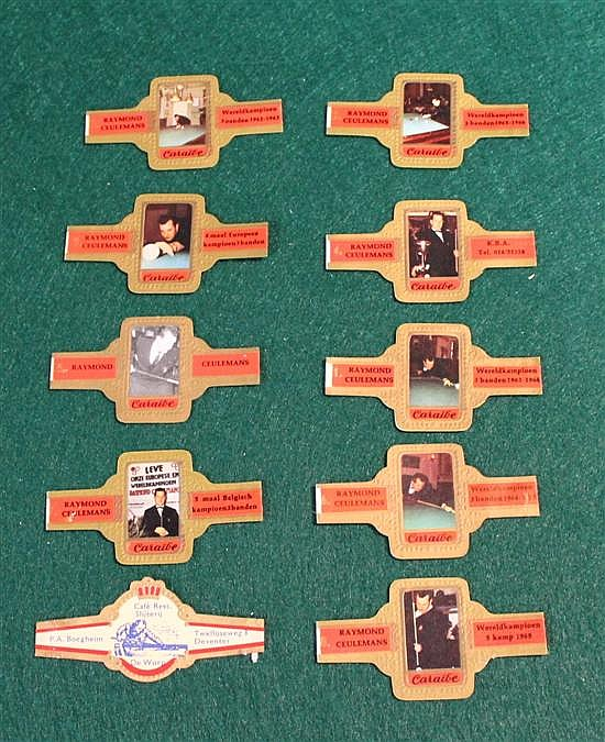 Set of 10 cigar band with billiard players. 9 by Ceuleman and 1 by Caraibe.