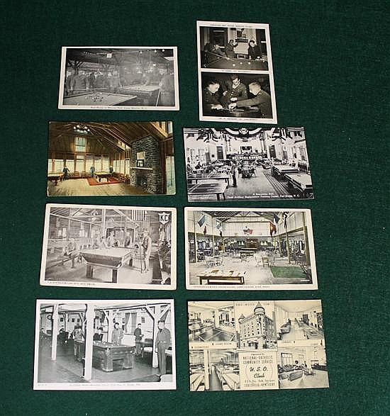 Lot of 8 pc. U.S. Soldier Pool Rooms, USO Club, K of C Hall