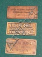 Lot of 3 brass table name plates from local companies. (1) is Henry Hill,