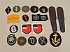 Lot of German WW II cloth insignia. Included are Army and Luftwaffe specialty patches, pair of Luftwaffe shoulder boards, pair of Fl...