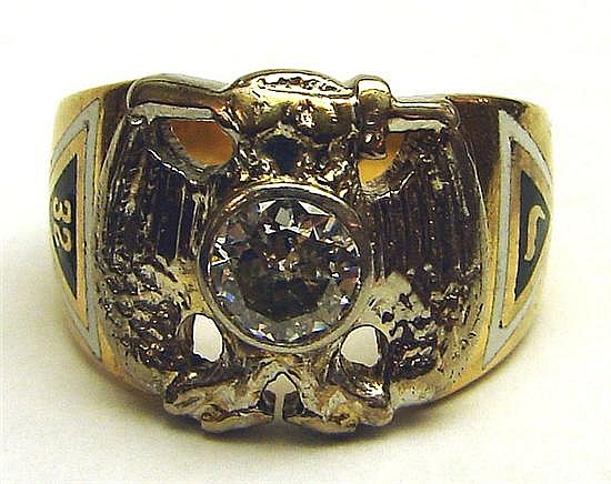 RING. DIAMOND. DOUBLE-HEADED EAGLE 32. 14KY. SIZE 9. 12.5GTW., .60CT.