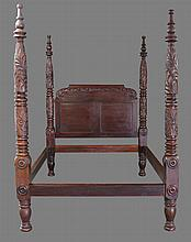 Four Poster Bed, Mahogany Carved, 88