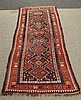 Caucasus Style Flatweave Runner, Blue and Burgundy Filed, Repeating Diamond Medallions with a Floral Main Border, (Worn Spots), 10'...