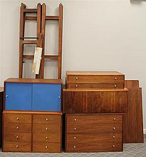 Hardwood House Mid Century Modern Walnut Wall Unit, (Minor Paint Stains), Approximately 100