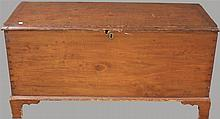 Blanket chest, on shaped bracket feet, some wear near key hole and throughout