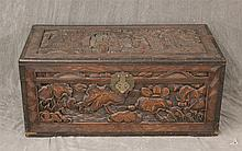 Carved Chinoiserie Coffer, Open Interior with Till, (Lid has a Crack), 15