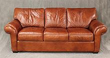 Sleeper Sofa, Brown Leather, Rolled Arms on Bracket Feet, 39