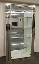 Curio Cabinet, Mirrored Sides and Back with Glass Front Opening to Glass and Lighted Shelving, 80