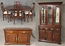 Kincaid Furniture, 9 Piece Dining Suite, Cherry, (1) Queen Anne Style Dining Table 30