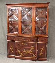 Saginaw Furniture, Chinoiserie Breakfront Bookcase, Mahogany, Three Glazed Doors over Two Drawers and Fold Down Writing Service with...