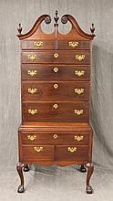 Chippendale Style Highboy, Walnut, One Piece, Open Scrolled Swan-Neck Pediment, Nine Drawers on Cabriole Legs and Ball and Claw Feet...