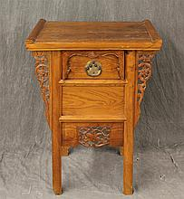 Chinese Side Table, Elm, Single Drawer, Carved Apron on Straight Legs, 34