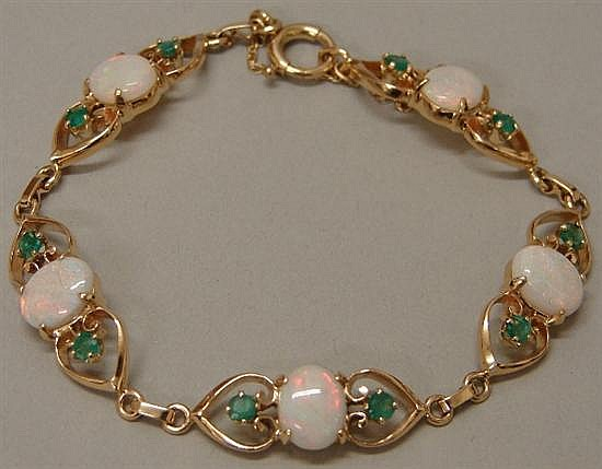 14K Yellow Gold Opal and Emerald Bracelet