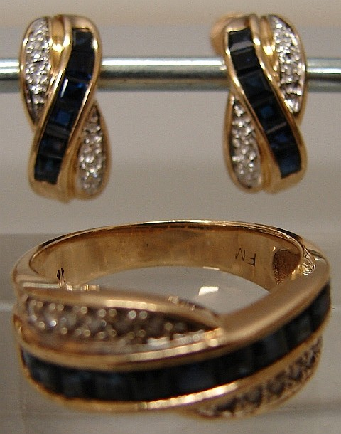 14K Yellow Gold Sapphire and Diamond Ring and Earrings Set