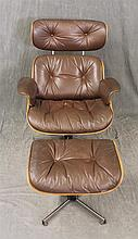 Eames Style Lounge Chair and Ottoman, Brown Leather on Molded Wood and Aluminum Pedestals, Chair 39 1/2
