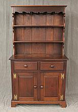 Wall Cupboard, Cherry, Step-Back, Open and Scrolled Top, Two Drawers over Two Doors on Shaped Bracket Feet, 73