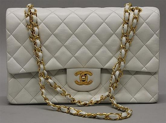 Chanel White Quilted Leather Double-Flap Handbag