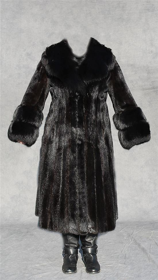 Ranch Mink Coat with Dyed Fox Fur Collar & Cuffs