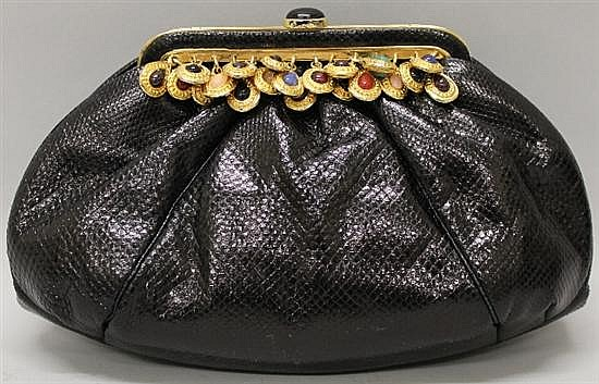Judith Leiber Black Reptile Leather Evening Bag