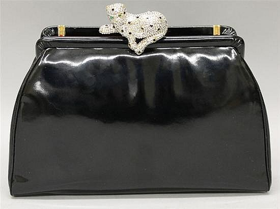 Judith Leiber Black Patent Leather Evening Bag with Leopard Clasp